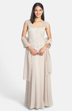 J Kara Embellished Bodice Chiffon Gown with Shawl (Regular & Petite) available at #Nordstrom