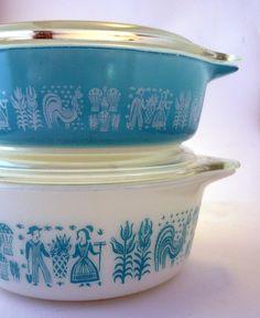 pyrex butterprint bowls & lids, 1950's $38.80