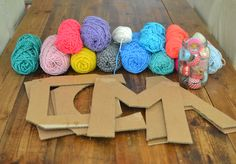 Yarn Wrapped Cardboard Letters - Cardboard letters wrapped with yarn made by kids. The Effective Pictures We Offer You About crafts - Crafts For Teens To Make, Diy For Kids, Kids Crafts, Diy And Crafts, Arts And Crafts, Yarn Letters, Cardboard Letters, Diy Letters, Cardboard Crafts