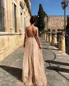 Spaghetti V-neck A-line Sequins Tulle Prom Dress, Gorgeous Sparkle Prom Dress - DIY Dresses Gold Prom Dresses, Long Prom Gowns, Tulle Prom Dress, Sequin Dress, Formal Dresses, Backless Dresses, Long Party Dresses, Uk Prom Dresses, Wedding Dresses
