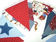 Round up cowboy kids fabric | Cowboys and Stars Denim Blue, Red, White Flag…