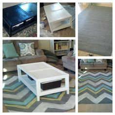 Painted coffee table and area rug...bought $18 rug from Home Depot and painted a  chevron pattern on it..great way to get a new look for cheap
