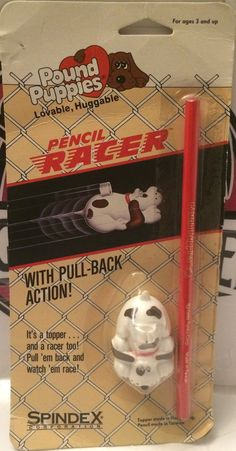 (TAS031718) - Spindex Pound Puppies - Pencil Racer - Pull-Back Action!