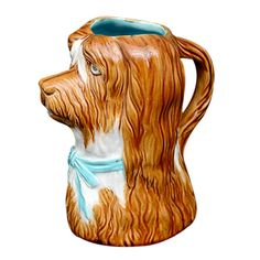 French Majolica Pitcher: Dog with Blue Ribbon