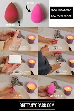 How to Clean a Beauty Blender step by step guide DIY beauty blender cleaner. This is super cheap and is under $5 compared to a beauty blender cleanser at $18! And this lasts way longer!— Check more out at brittanyobarr.com a new beauty blog that has a variety of makeup looks, reviews, and tutorials!