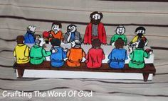 Color and cut a 3D Lord's Supper table with Jesus and the disciples. @ http://craftingthewordofgod.com/2013/06/10/lords-supper/ TEMPLATE @ https://craftingthewordofgod.files.wordpress.com/2013/06/the-lords-supper.pdf