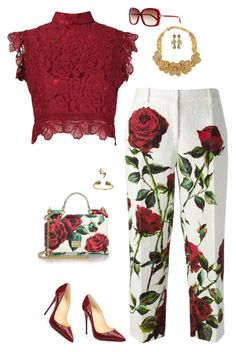 """Dolce and lace"" by riquee ❤ liked on Polyvore featuring Dolce&Gabbana, Martha Medeiros, Christian Louboutin, Tom Ford, Alicia Marilyn Designs, Oscar de la Renta, Jose & Maria Barrera and Tessa Metcalfe"