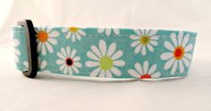 This collar is sure to turn heads!  Perfect for any time of year!  BRIGHT White Daisies with Different Colored Centers on Teal Blue Dog Collar!   My