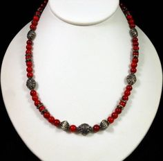 """Vintage Red Coral Sterling Silver Necklace 5mm Round Beads 18""""L Adj Very Nice! $35.00"""