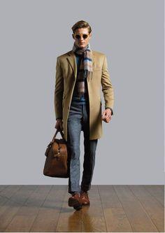 Hackett Chadwick wool coat in camel
