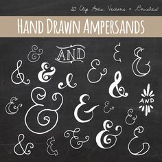 Chalkboard Ampersand Clip Art // Plus Photoshop Brushes // Hand Drawn Calligraphy // And Symbol // Vector // Commercial Use on Etsy, $6.00