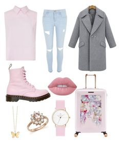 """•Pretty In Pink•"" by romadee ❤ liked on Polyvore featuring Victoria, Victoria Beckham, River Island, Dr. Martens, Ted Baker, Lime Crime, Bloomingdale's and Sydney Evan"