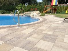 This New Jersey was created by Anthony Group using; Ledgestone XL SCLt Pre-Packaged Kits: Natural gas fire pit SC w/ Venetian Gold table top Custom: Maytrx SC outdoor kitchen with Venetian Gold counter top Pool Coping: Cast Stone sandstone Stone Around Pool, Small Back Porches, Sandstone Pavers, Cambridge Pavers, Pool Pavers, Natural Gas Fire Pit, Pool Coping, Pool Decks, Patio Ideas
