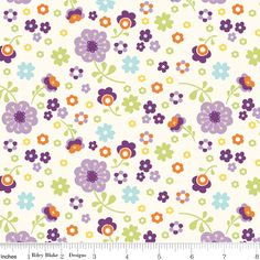 "Riley Blake Designs ""Dress Up Days"" Floral Grape  by Doohikey Designs.  -100% cotton, width 43/44"""