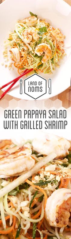 A Vietnamese inspired #recipe, this #Green #Papaya #Salad with #Grilled #Shrimp is delicious!