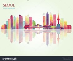 Seoul detailed skyline. Vector illustration