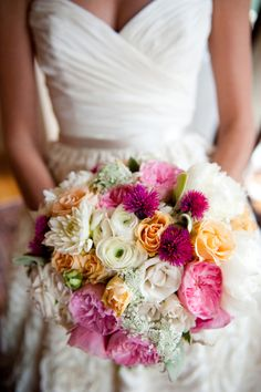 Love the shades of white, pink, and orange in this bridal bouquet  Shabby Chic Cali Wedding   Bride and Joy