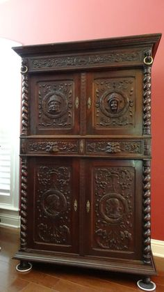 french antique hand carved armoire. Antique FRENCH Carved Oak Barley Twist CABINET ARMOIRE SIDEBOARD Renaissance French Hand Armoire