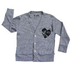 Heart NY Cardigan, Heather Grey