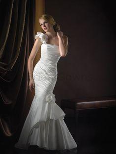Satin One-Shoulder Neckline Rich Taffeta ruches Bodice Mermaid Wedding Dress