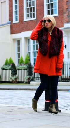 red coat + red accessories