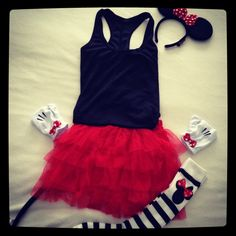 Minnie Mouse run costume.  check out the cute gloves!!!  This would also be really cute for Halloween (with a long sleeve black shirt and black leggings instead).