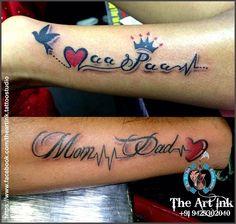 Tattoo wrist heart birds 58 ideas for 2019 Mom Dad Tattoo Designs, Mom Dad Tattoos, Heart Tattoo Designs, Tattoo Designs For Women, Tattoos For Women Small, Small Tattoos, Tattoos For Guys, Hand Tattoos, Music Tattoos