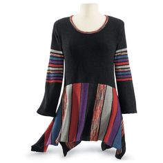 Multi Stripe Sweater - New Age, Spiritual Gifts, Yoga, Wicca, Gothic, Reiki, Celtic, Crystal, Tarot at Pyramid Collection