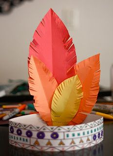 Ankle Biter Art: Thanksgiving Hats. Love this idea. I'd have the kids write what they're thankful for on the white strip or on the feathers.