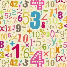 funky numbers and maths symbols on cream background ~ see collection