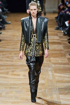 what usually would be a male kimono, but in leather and feminine. Balmain F/W 2013-14