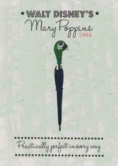 Mary Poppins minimalist artwork by SebandCharlie on Etsy https://www.etsy.com/listing/241798731/mary-poppins-minimalist-artwork