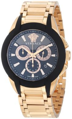 Versace Men's Character Rose Gold Ion-Plated Stainless Steel Chronograph Date Watch, Black and gun dial with Medusa head at Watches Stylish Watches, Luxury Watches, Cool Watches, Watches For Men, Versace Watches, Wrist Watches, Men's Watches, Mode Man, Versace Men