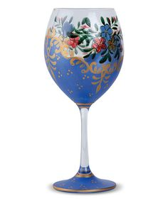 Another great find on #zulily! Blue Flower Breeze Hand-Painted Crystal Wine Glass - Set of Four #zulilyfinds