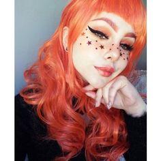 Orange Hair Color 33086 Vivid Red orange Hair Color with Glitter Stars Make Up orange Hair Kawaii Makeup, Cute Makeup, Makeup Art, Makeup Tips, Makeup Looks, Pretty Makeup, Beauty Make-up, Hair Beauty, Festival Makeup