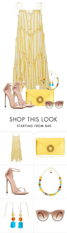 """""""Summer fling don't mean a thing"""" by closet-freak ❤ liked on Polyvore featuring Zimmermann, Wilbur & Gussie, Stuart Weitzman, Be-Jewelled, summerdress and yellowstripedress"""