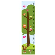Children Growth Chart - Love and Nature blue green and pink. $33.00, via Etsy.