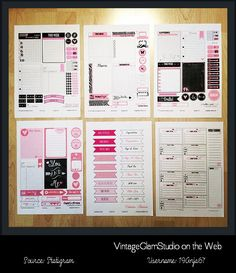 Free printable download of hot pink journaling cards and elements for project life and other types of pocket scrapbooking use. Free for personal use only.