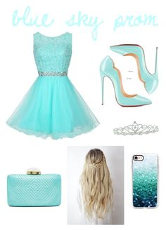 """""""blue sky prom"""" by shemilys2-1 on Polyvore featuring Christian Louboutin, Kayu, Casetify and Kate Marie"""