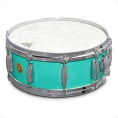 """Gretsch USA Custom Snare • """"Fender Custom Shop Relic"""" • Sea Foam Green Gloss Nitrocellulose Lacquer • 14""""x5.5"""" (10 lugs) • Specifications: Lightning Throw-off"""