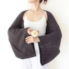Long Sleeves Cotton Shrug Bolero / Poncho with Coconut Buttons in Black