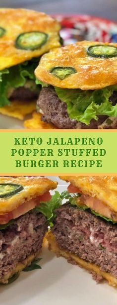 This recipe for the Keto Jalapeno Popper Stuffed Burger came to us by thinking about some of our favorite foods, and thinking of ways to com. Jalapeno Burger, Jalapeno Poppers, Jalapeno Popper Recipes, Jalapeno Cheese, Cheese Buns, Keto Cheese, Cheese Bread, Stuffed Jalapenos With Bacon, Stuffed Peppers
