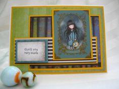 handmade thank you card,thank you very much,handmade greeting cards,cute card,girl card,clock card,time,layered card,books card,white rabbit