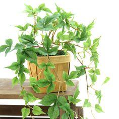 造花ドットコムの光触媒人工観葉植物 3189「メイプルアイビー バスケット 全長45cm」(フェイクグリーン)