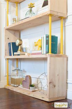 Blush, Navy, Yellow shelf decorating ideas.
