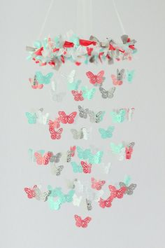 Coral, Aqua, Gray & White Butterfly Nursery Mobile- Nursery Decor, Baby Shower Gift