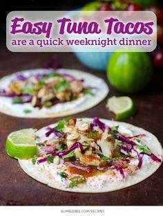 EASY TUNA TACOS: Pumpkin seeds & paprika make this simple tuna taco recipe anything but ordinary.