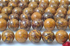 37 pcs of Natural Rubber stone smooth round beads in 10mm