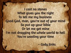 I CAST NO STONES by Cody Jinks