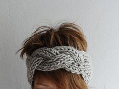 Knitted Headband,Chunky Headband,Ear Warmer Cabled Headband,Head wrap in Stone Beige Taupe Hair Accessories,Winter Accessories